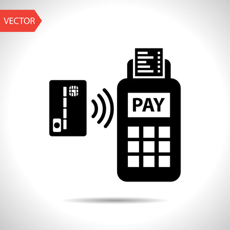 wireless internet: Card paying wirelessly over POS terminal. Vector icon.