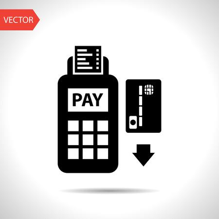 credit card: Pago con tarjeta de crédito, la lectura de banda magnética Vectores