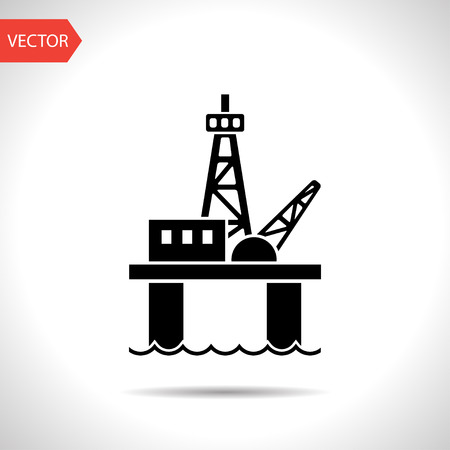 Olieplatform pictogram Stock Illustratie