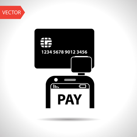 cashless payment: Mobile payment. Credit card reader on smartphone scanning a credit card