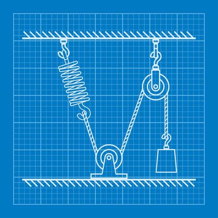 balanza de laboratorio: Cargado m�viles Poleas con la primavera y el modelo de cuerda