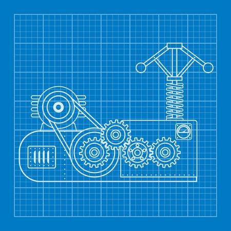 physical: Blue physical formula vector illustration. Mechanical blueprint of engine