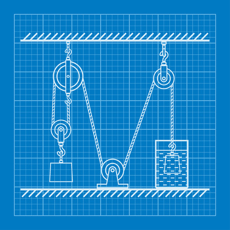 movable: Loaded Movable Pulleys and rope blueprint Illustration