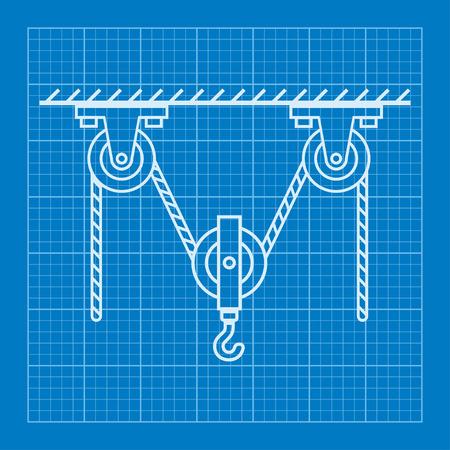 poleas: Las poleas m�viles cargados y modelo de f�sica de la cuerda Vectores