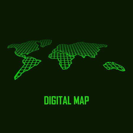 business backgound: Abstract green world map, vector illustration. Business theme