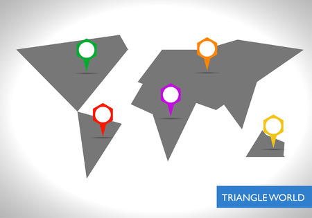 facet: Abstract gray facet world map with tags vector. Business theme