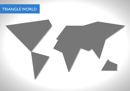 Abstract gray facet world map vector. Business theme