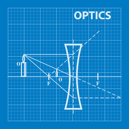 optics: Infographic. Physics. Geometrical optics on blueprint background. Vector illustration