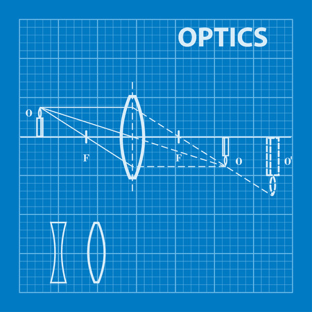 Infographic. Physics. Geometrical optics on blueprint background. Vector illustration