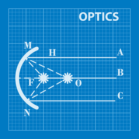 refraction of light: Infographic. Physics. Geometrical optics on blueprint background. Vector illustration