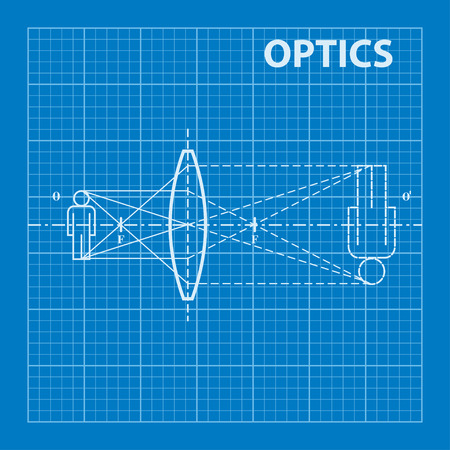 physics: Infographic. Physics. Geometrical optics on blueprint background. Vector illustration