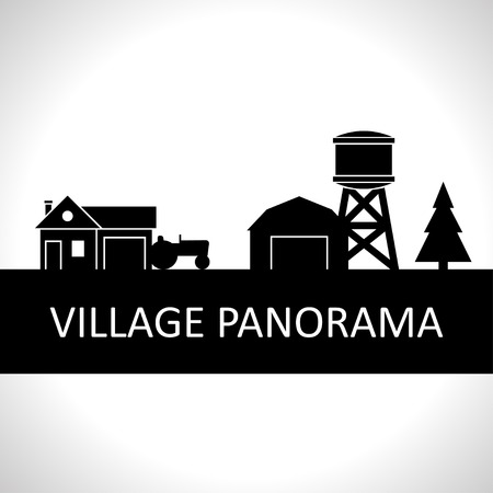 silhouette maison: Noir et blanc village panorama