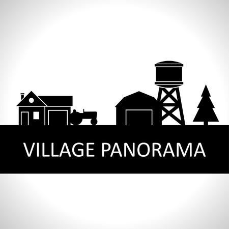 Zwart en witte dorp panorama Stockfoto - 44024191