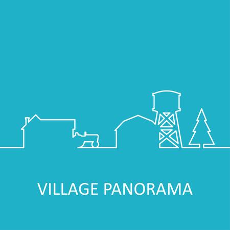 background house: Blue village panorama Illustration