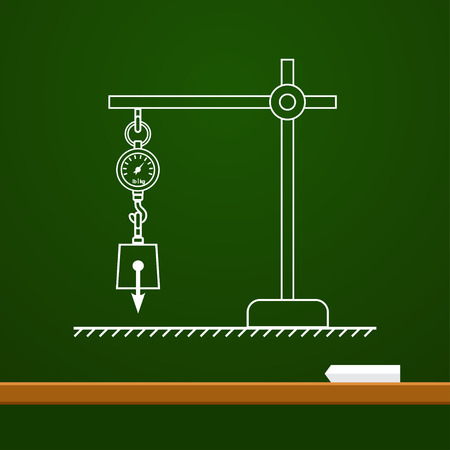 Loaded dynamometer scale physics drawing on board Illustration