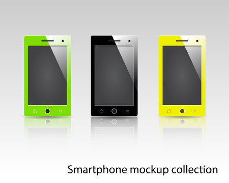 be green: Smartphones vector mockup black, green and yellow. Can be used for background frame, brochure object, web element, app background mockup.
