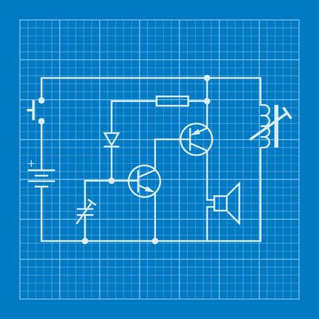electronic circuit: electronic circuit scheme blueprint background