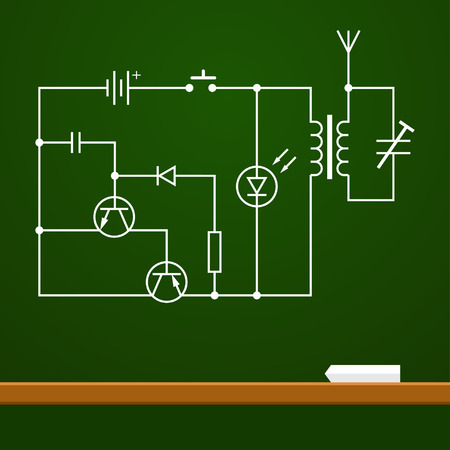 electronic scheme: electronic circuit scheme on chalk board background