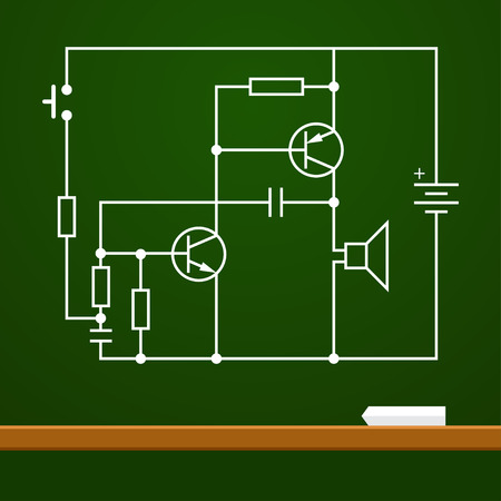 capacitor: electronic circuit scheme on chalk board background