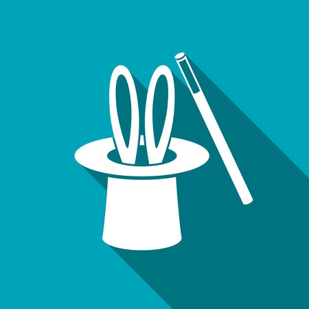 hat trick: Magic trick rabbit in black hat cylinder