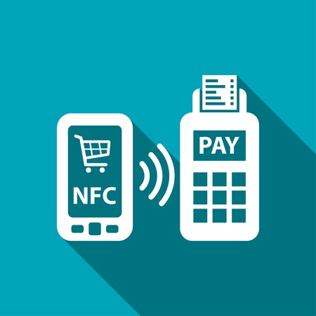 nfc: nfc payment from mobile phone icon Illustration
