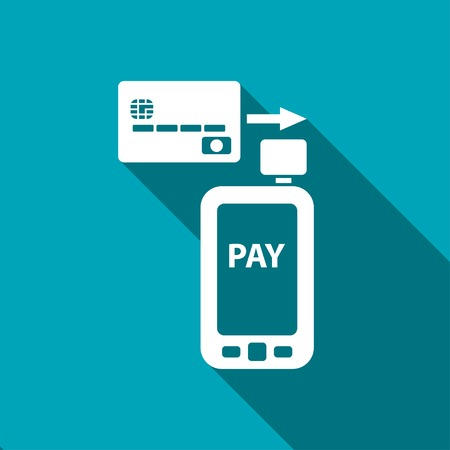 mobile application: Mobile payment. Credit card reader on smartphone scanning a credit card