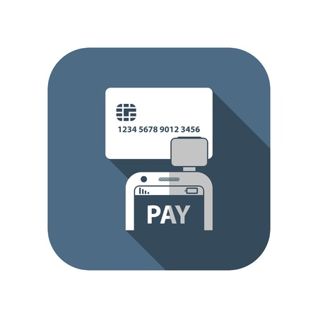 reader: Mobile payment. Credit card reader on smartphone scanning a credit card