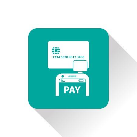 reader: Mobile payment. Credit card reader on smartphone scanning a credit card