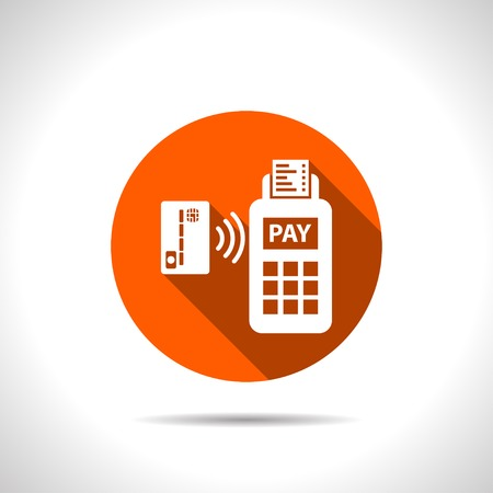paying: Card paying wirelessly over POS terminal. Vector icon.