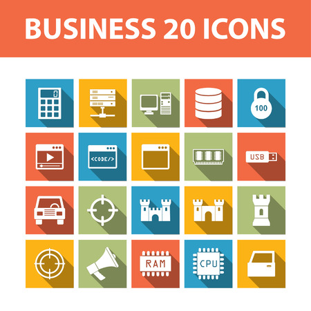 bisiness: Bisiness 20 color vector flat icons with shadows set