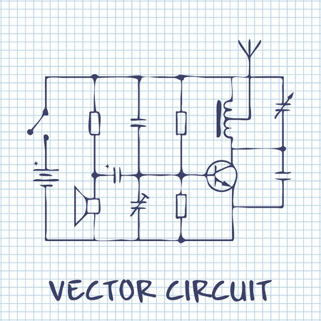 electronic scheme: electronic circuit scheme on white squared paper sheet background