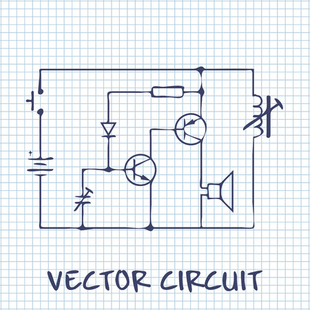 squared paper: electronic circuit scheme on white squared paper sheet background