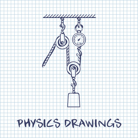 pulleys: Loaded Movable Pulleys and rope physics drawing on white squared paper sheet background