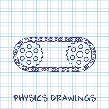paper chain: Chain with cogwheels drawing on white squared paper sheet background
