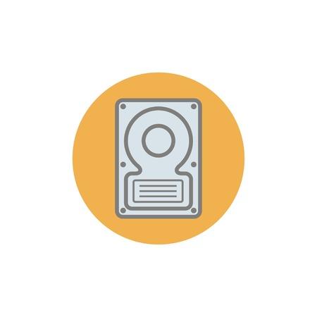hard disk: Flat web icon of hard disk