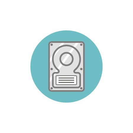 lens unit: Flat web icon of hard disk search Illustration