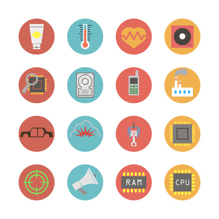 explosion engine: Modern flat icons vector collection in stylish colors of web design objects, business, computer and industry items. Isolated on white background.