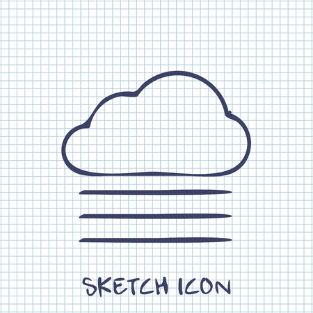 wheather forecast: Vector sketch icon of foggy weather