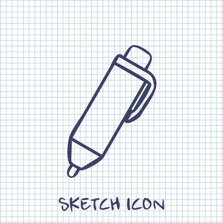 ballpoint pen: Vector sketch icon of pen