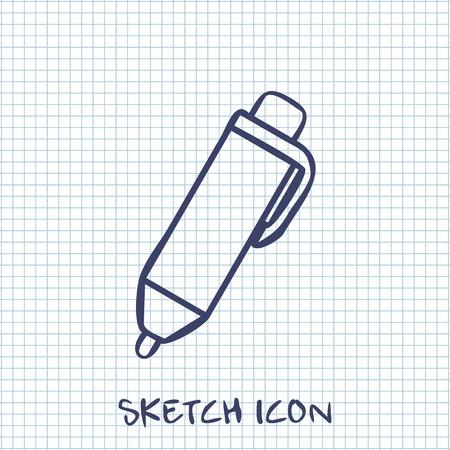 mark pen: Vector sketch icon of pen