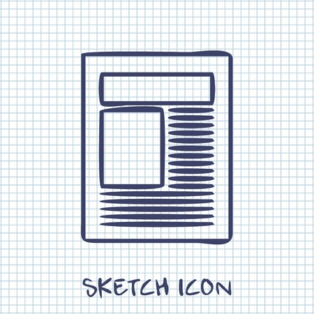 article icon: Vector sketch icon of newspaper article