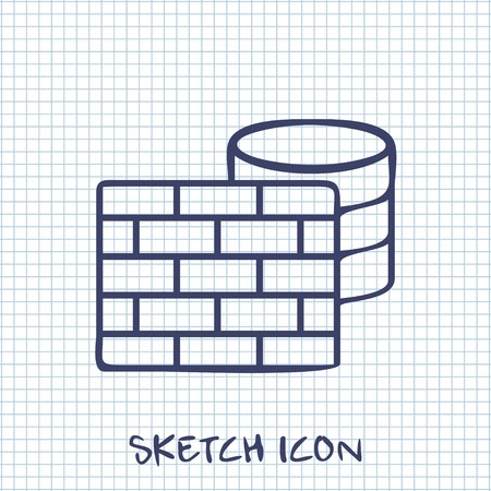 cylinder lock: Vector sketch icon of firewall and database