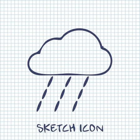 heavy rain: Vector sketch icon of heavy rain