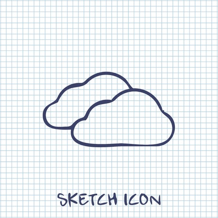 wheather forecast: Vector sketch icon of clouds