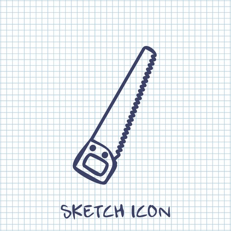 toothed: Vector sketch icon of hand saw