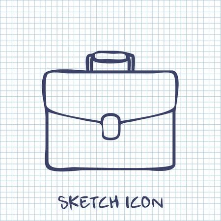 attache: Vector sketch icon of suitcase Illustration