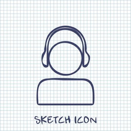 Vector sketch icon of head in headphones Illustration