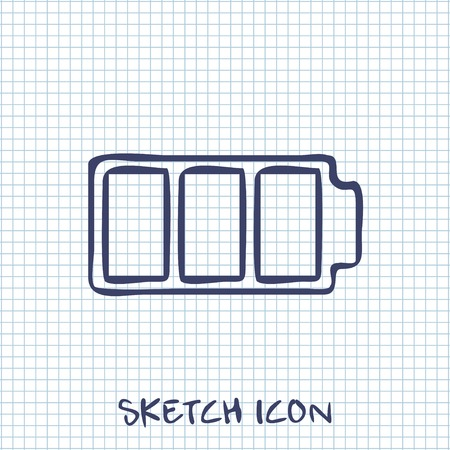 watts: Vector sketch icon of battery