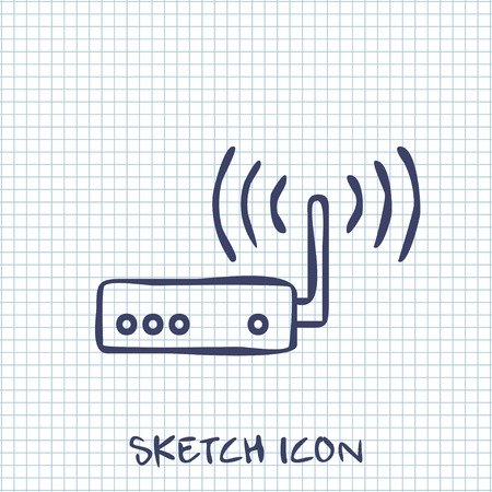 ethernet: Vector sketch icon of router