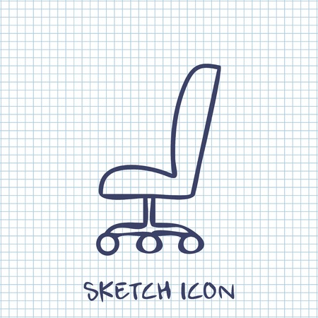 ergonomic: Vector sketch icon of office chair